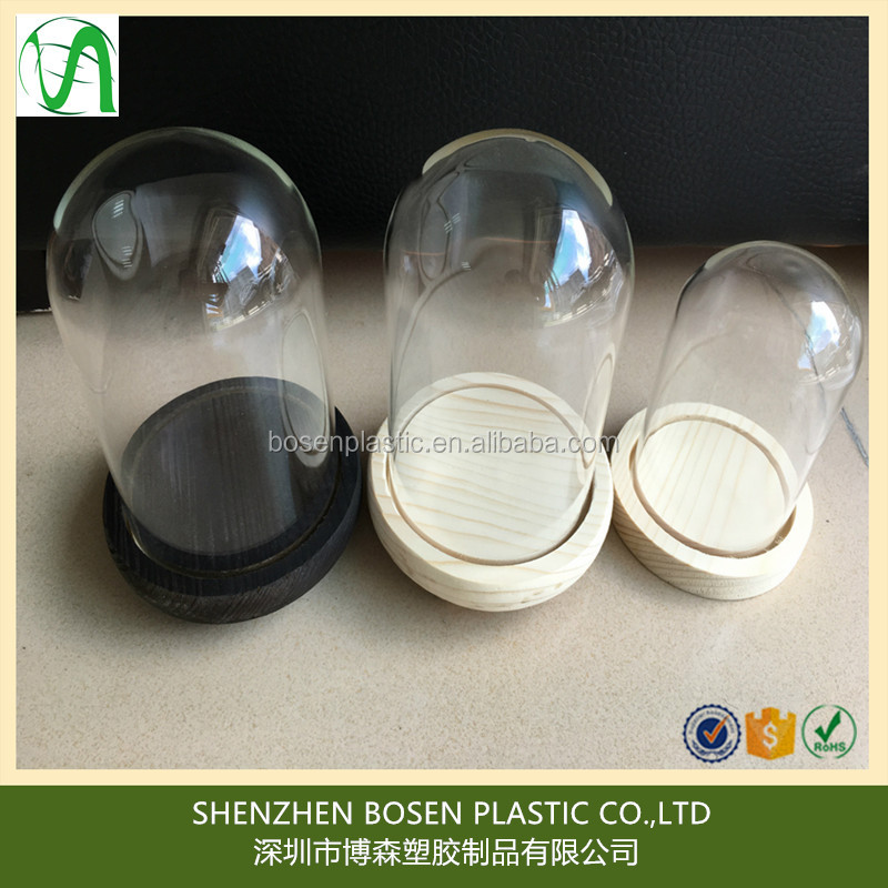 high clear dome plastic cover with wood base