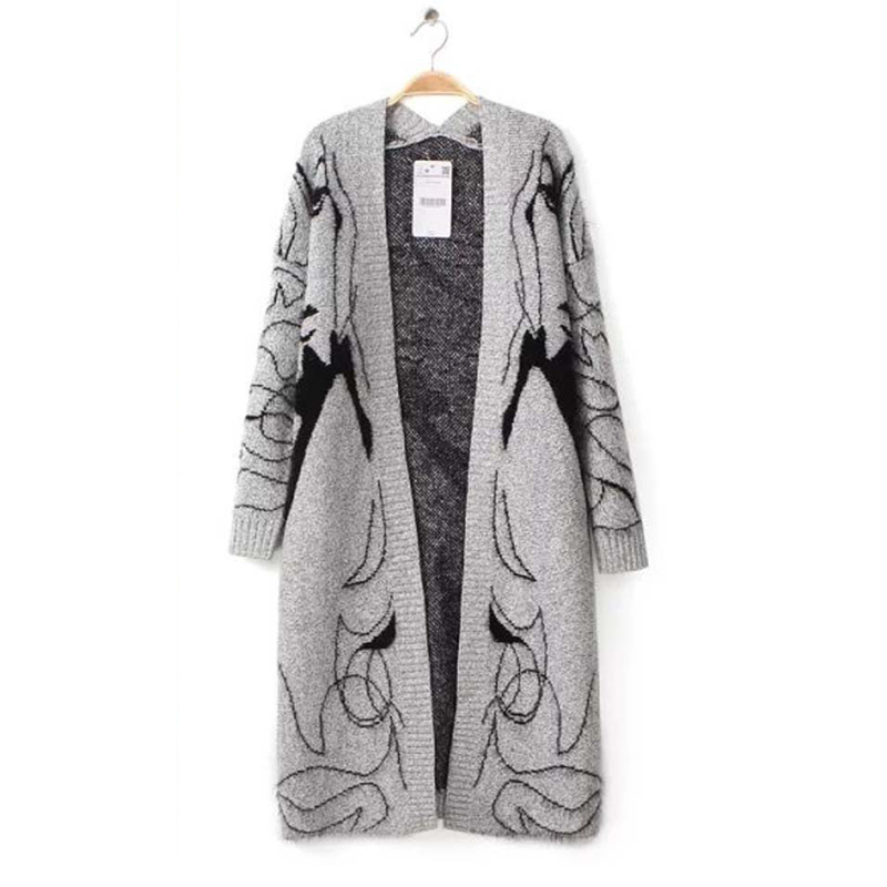 2015 Autumn Winter New European Style Fashion Women Long Design Sweaters Cardigans Printed Knitted Open Stitch Free Shipping