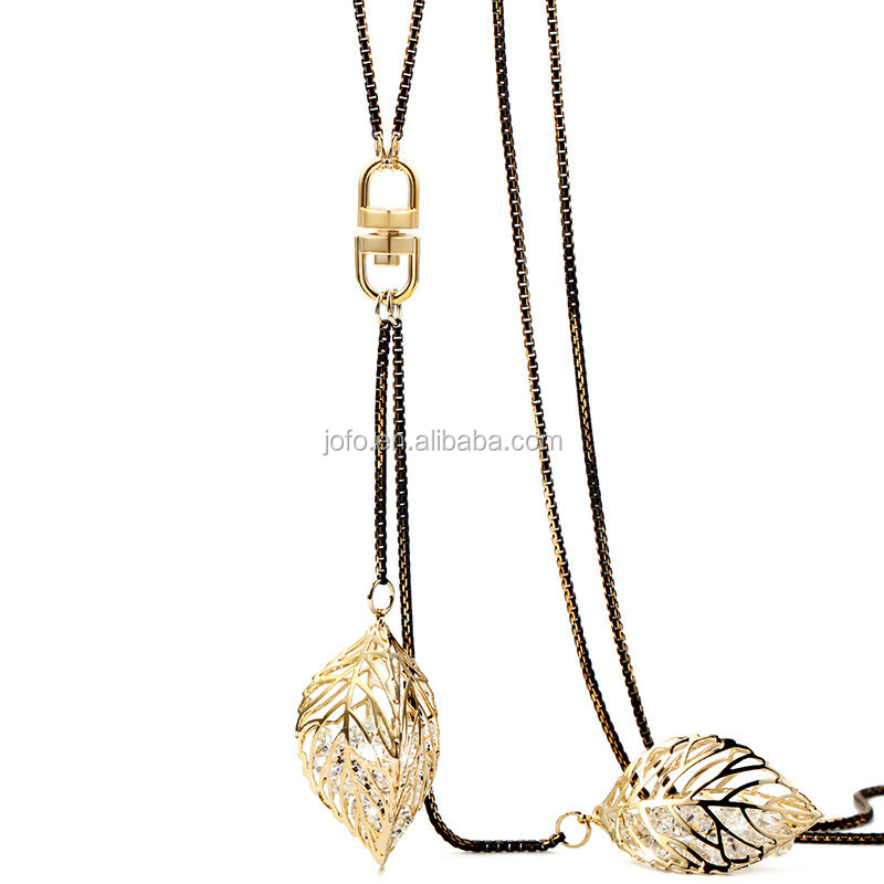 Unique Hollow Golden Leaves Shiny Czech Crystals Classic Noble Sweater Necklace