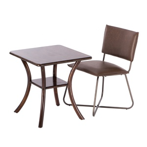 Modern Wooden Table Luxury Metal Base Faux Leather Chair Bistro Cafe Dining Room Sets for Restaurant
