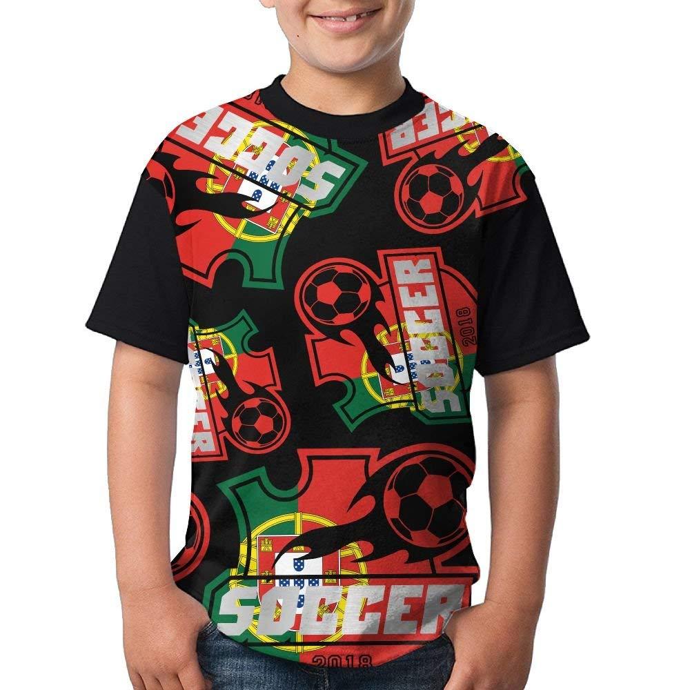 fb2840b4aab Get Quotations · 2018-soccer-Portugal Boy Girls 3D Printing Fashion Round  Neck T Shirts Cute Short