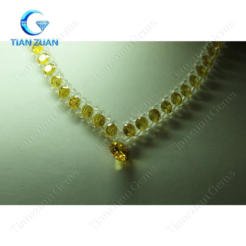 luxury European style yellow/red multicolor flower shape cubic zirconia gemstone jewelry necklace