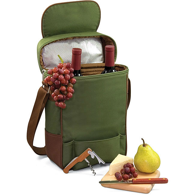 Picnic Time Pine Green Wine and Cheese Tote