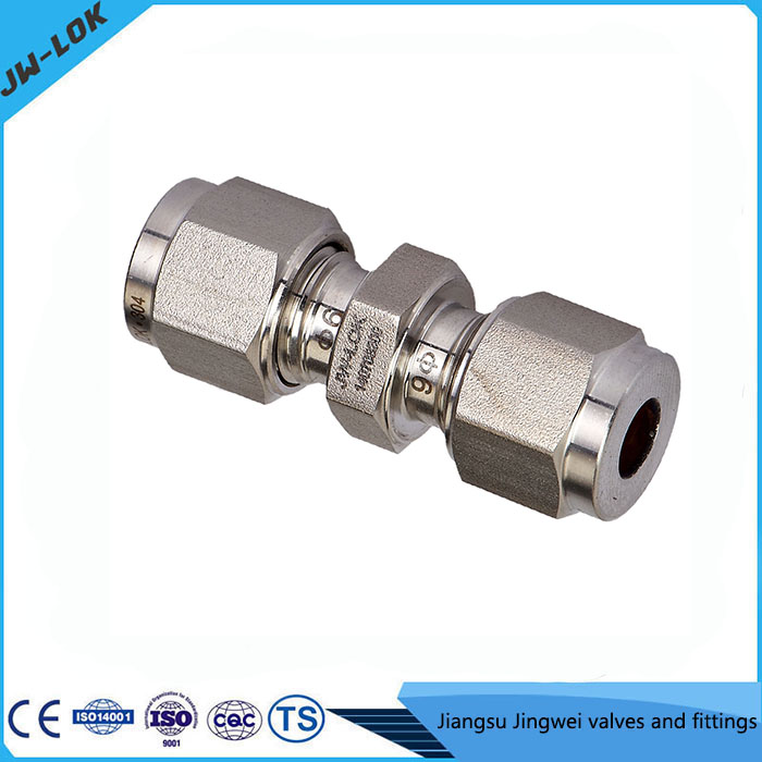 Swagelok type tube fittings aluminum double ferrule union