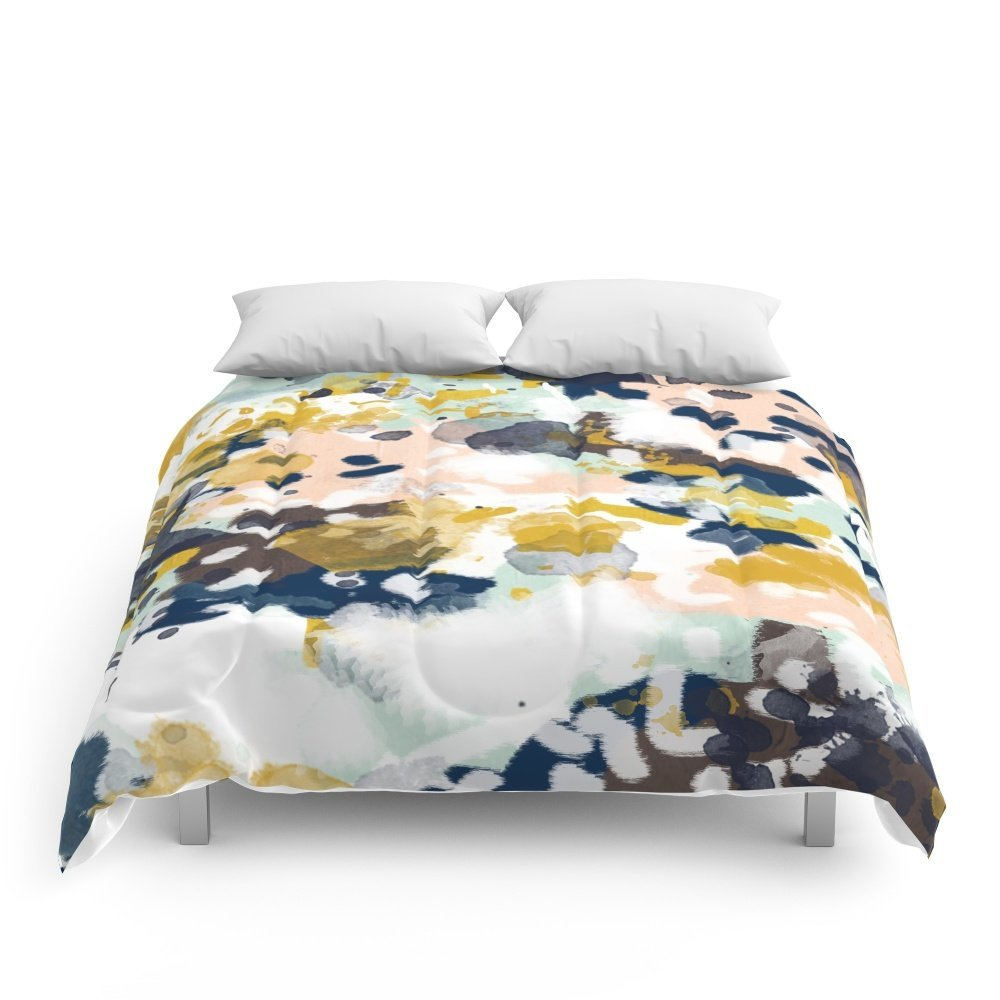 "Society6 Sloane - Abstract Painting In Modern Fresh Colors Navy, Mint, Blush, Cream, White, And Gold Comforters Full: 79"" x 79"""