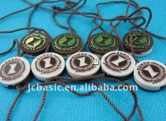 Custom foil logo plastic seal tags for clothing
