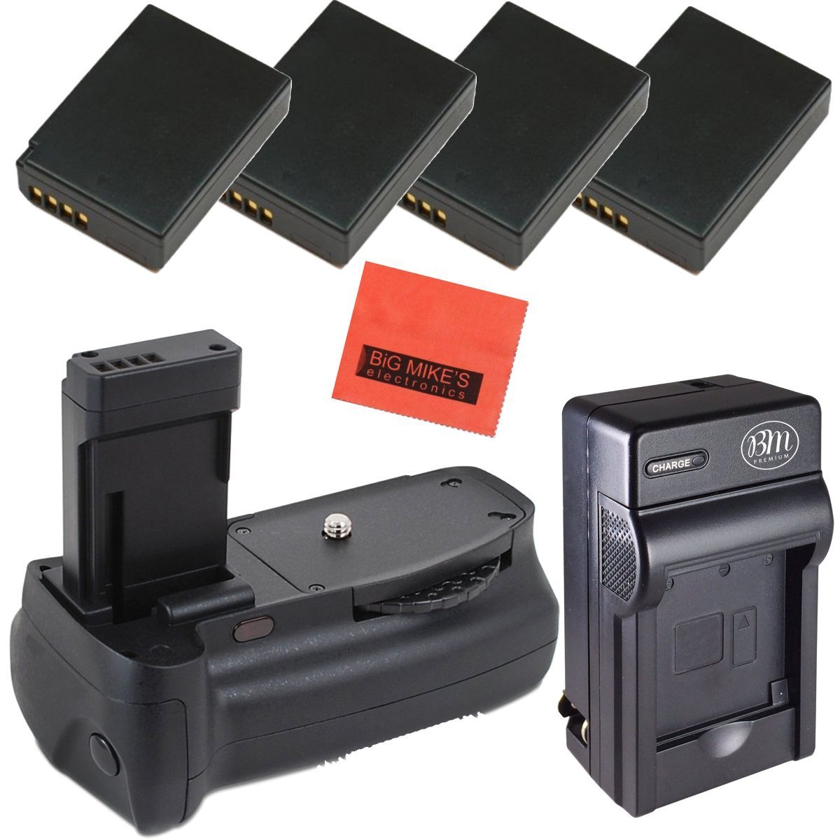 Battery Grip Kit for Canon EOS Rebel T3, T5, T6, Kiss X50, Kiss X70, EOS 1100D, EOS 1200D, EOS 1300D Digital SLR Camera Includes Qty 4 Replacement LP-E10 Batteries + Battery Charger + Vertical Battery Grip + More!!