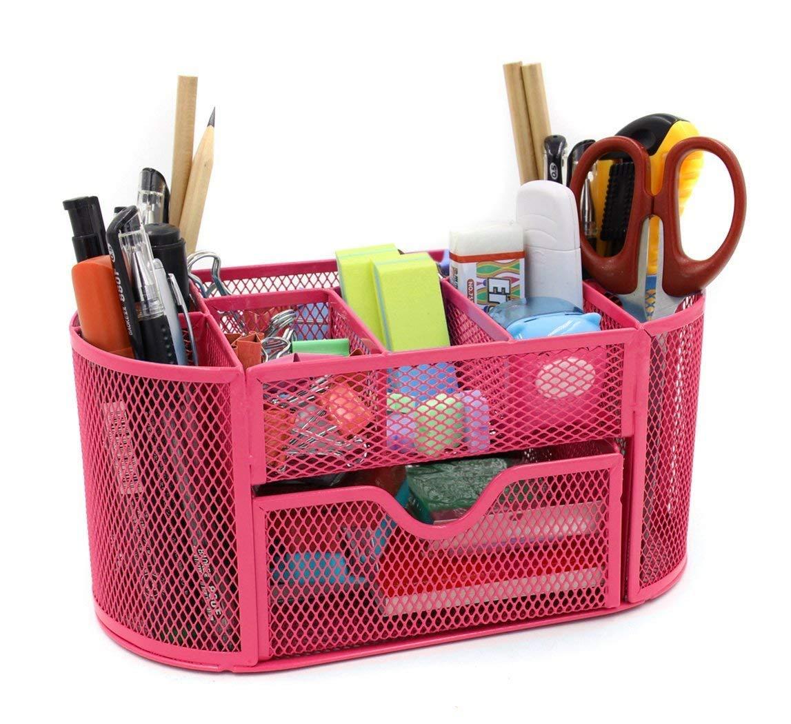 WINOMO Office Desk Tidy Organiser Pen Holder Mesh Stationery Container Red