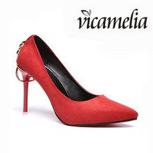 European Style High Heel Thin Woman Pointed Toe Shoes Suede Pumps Wedding Shoes