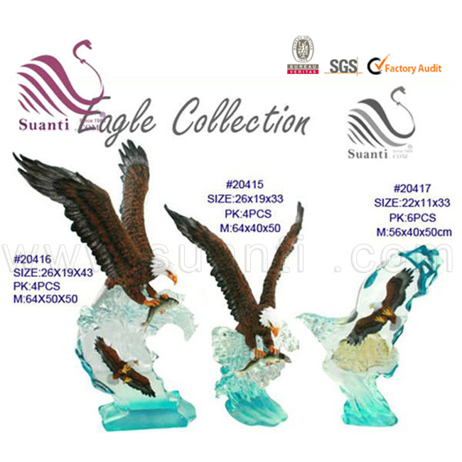 New Product 2018 Wood Effect Wooden Color Resin Eagle and Camel Sculpture for Home Decor