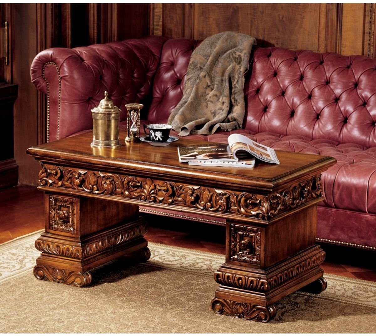 Get Quotations · Antique Replica Handcarved Solid Hardwood Coffee Table - Cheap Replica Antique Desks, Find Replica Antique Desks Deals On
