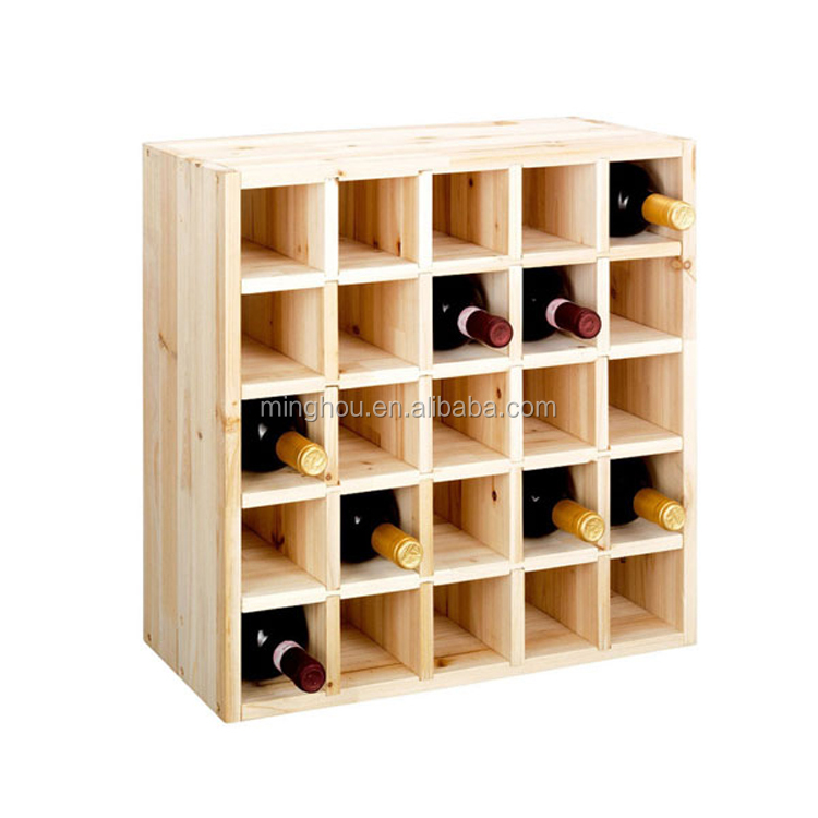 Best Small Space Solid Pine Wood Wine Storage Cube Expandable Rack