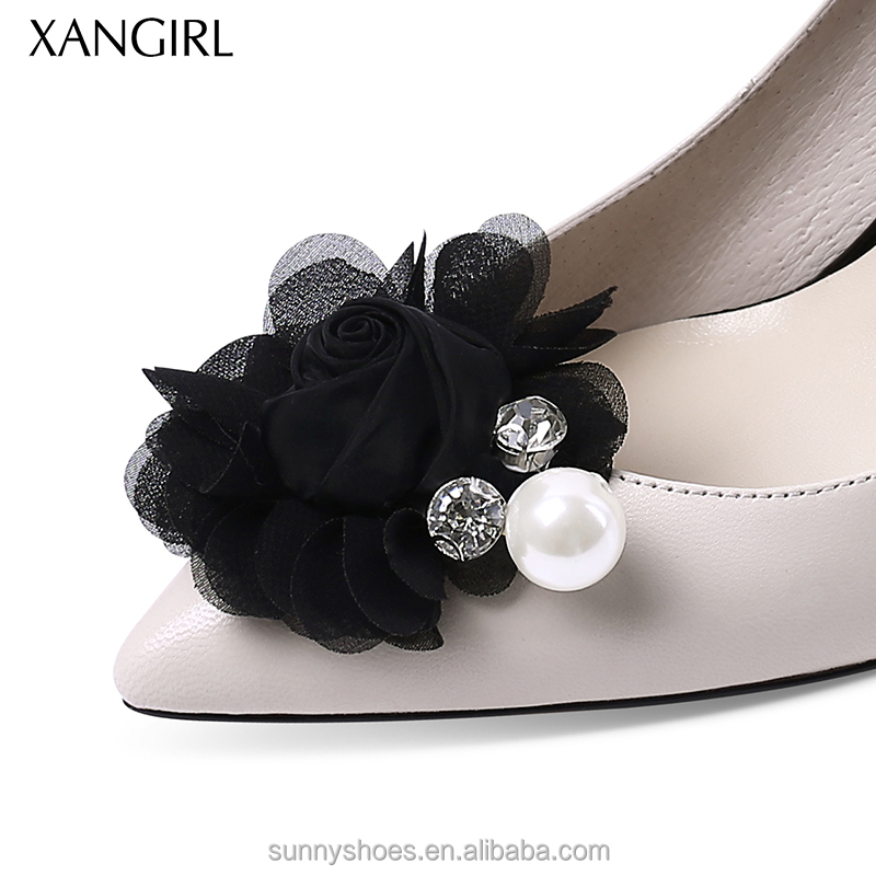 shoes Women genuine with ornament formal leather flower UxUt4zqrw