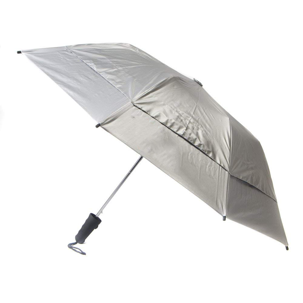 Hot Selling  Auto Open 2 fold  UV Protection Travel Cooling Sun Blocking Double Canopy Golf Umbrella