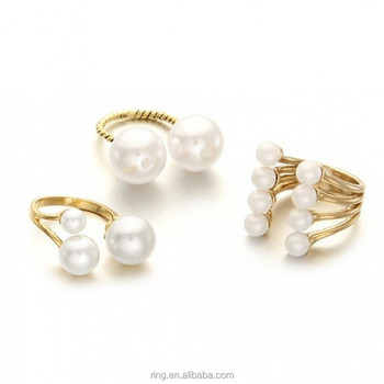 Qaality Purely Adjustable Faux Pearls&Golden Orbs Trio Finger Ring Set Midi Knuckle Ring Set for women Fashion Jewelry