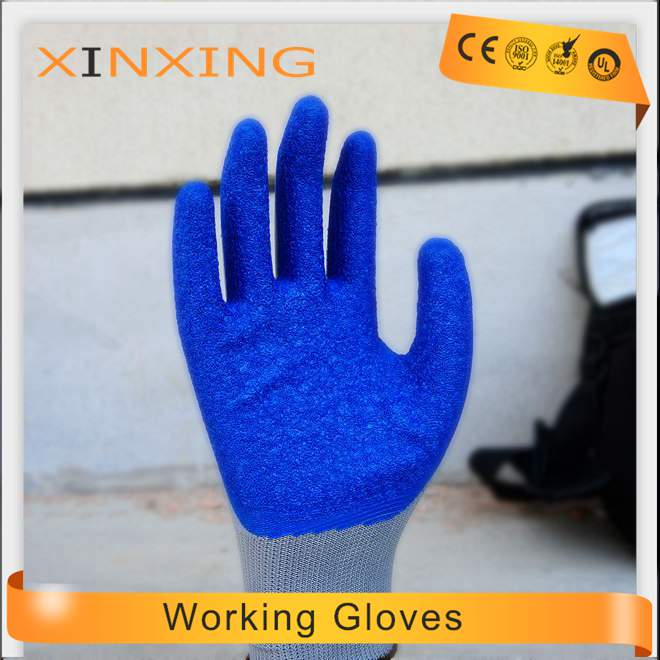 10 Guage Natural Latex Wrinkle Coated Working Safety Gloves