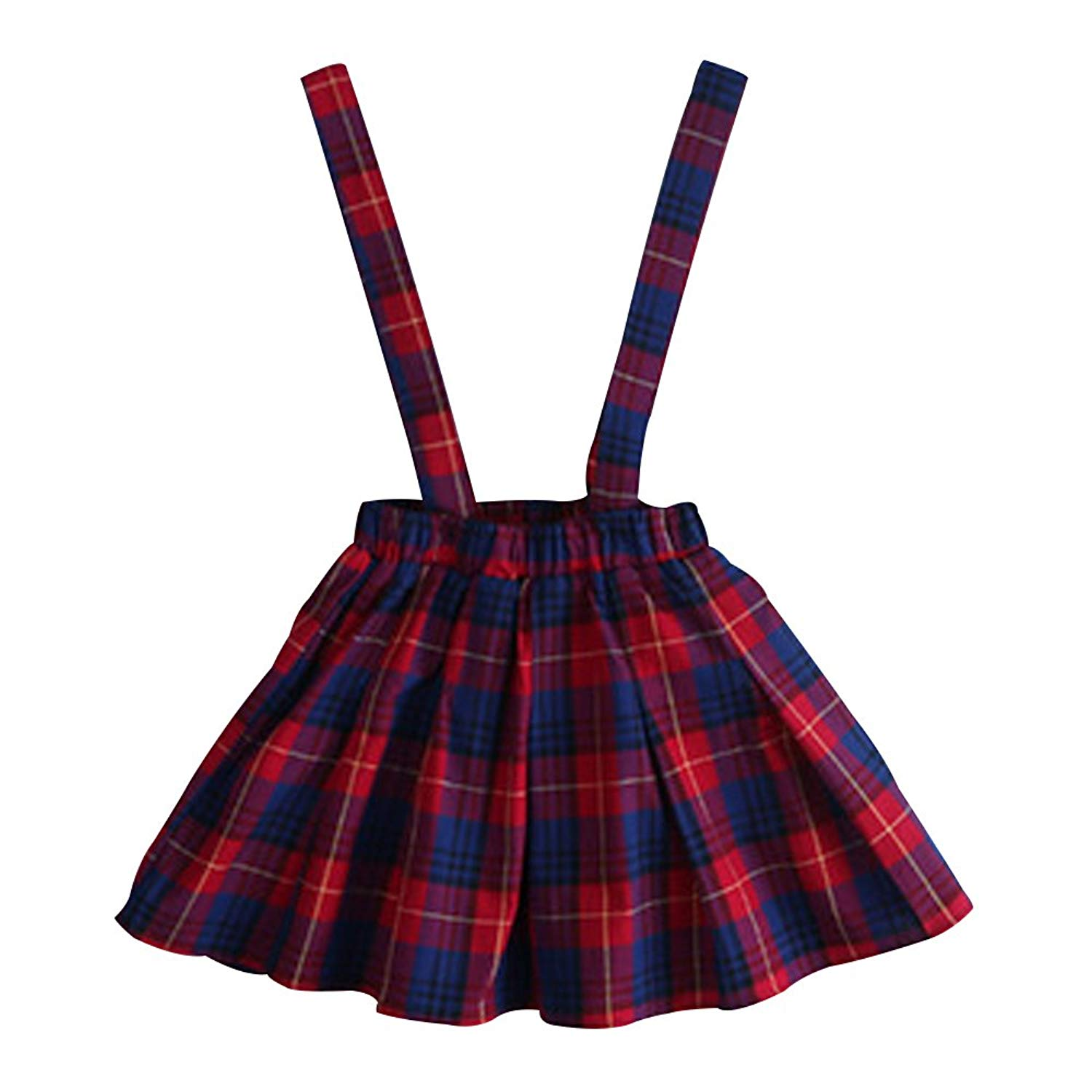 403c21bb2c7 Get Quotations · Mesinsefra Red Plaid Overall Skirt Girls School Overalls  Skirts Cute Plaid Skirt Age 2-6T