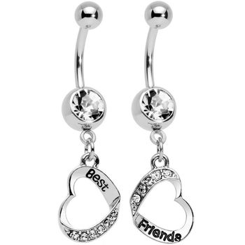 Best Friends Heart Belly Ring Navel Bar