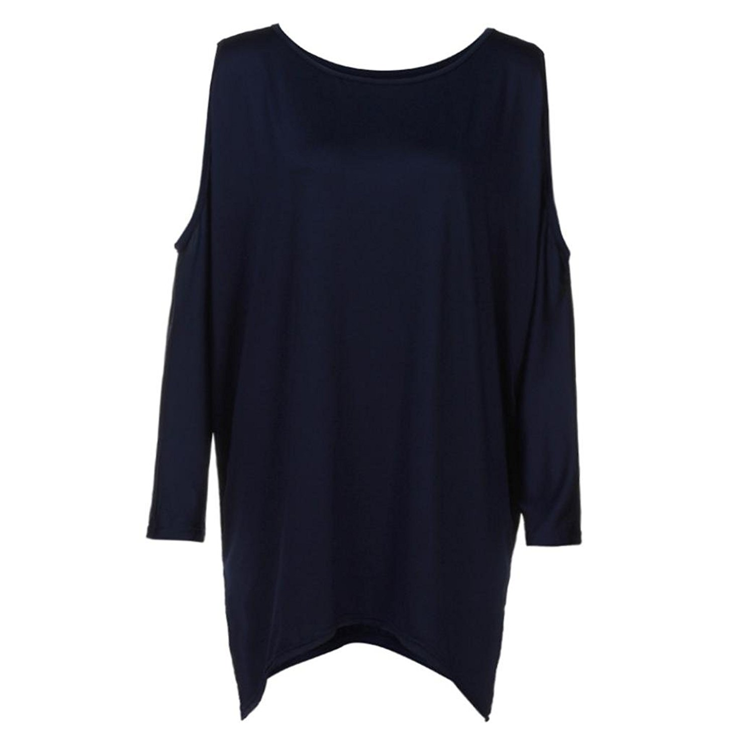 MOONHOUSE Womens Solid Strapless O-Neck Cut Shoulder Baggy Tops Sexy Shirts Loose Long Sleeve Pullover Blouse Plus Size
