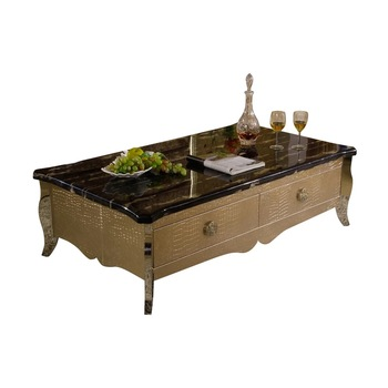 FO428 Modern Contemporary Stainless Steel Gold Leather Luxury Living Room  Furniture Coffee Table Center Table End