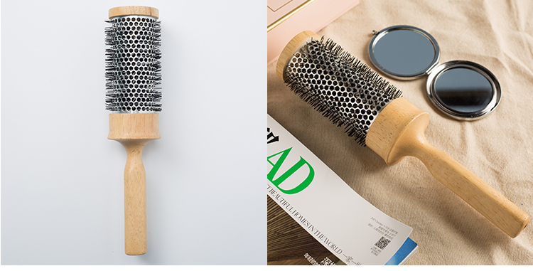 Salon wooden styling ceramic barrel ionic hair brush