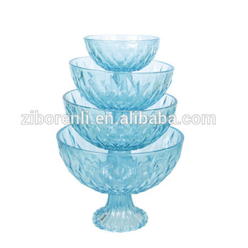 Clear Blue Color Fruit Salad Mixing Large Glass Bowl with Stem