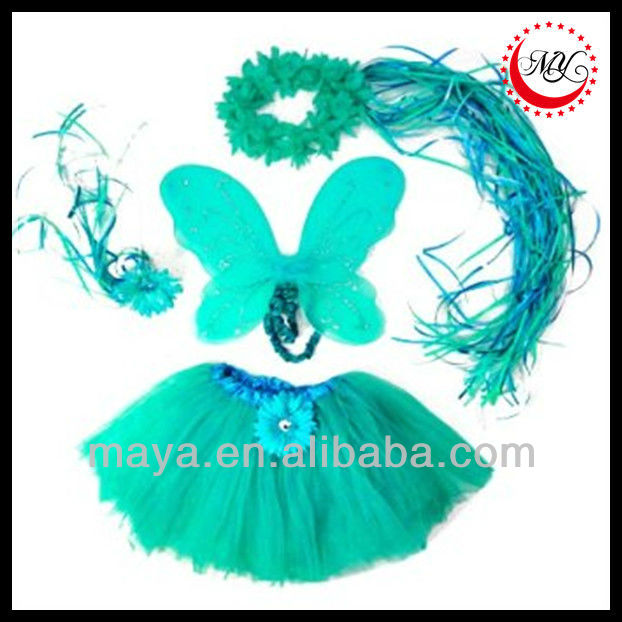 Kids Turquoise 4pcs Flower Fairy Princess Costume sets. Include Fancy Flower Halo, Tutu, Wand and Wings