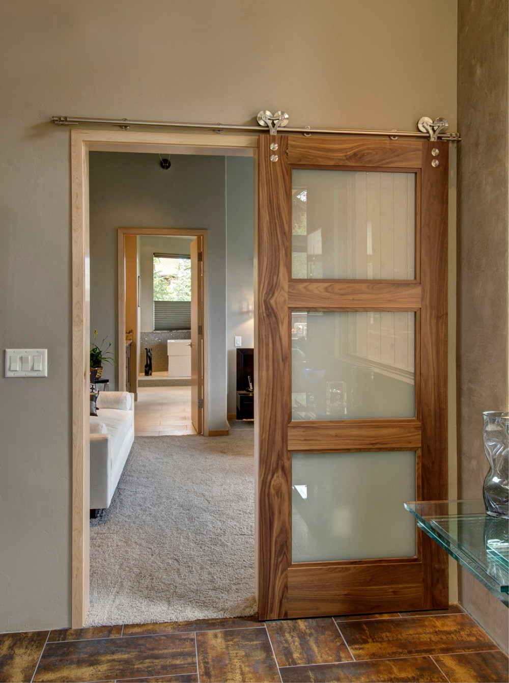Morden Type Internal 3 Panel Glass Sliding Door Price