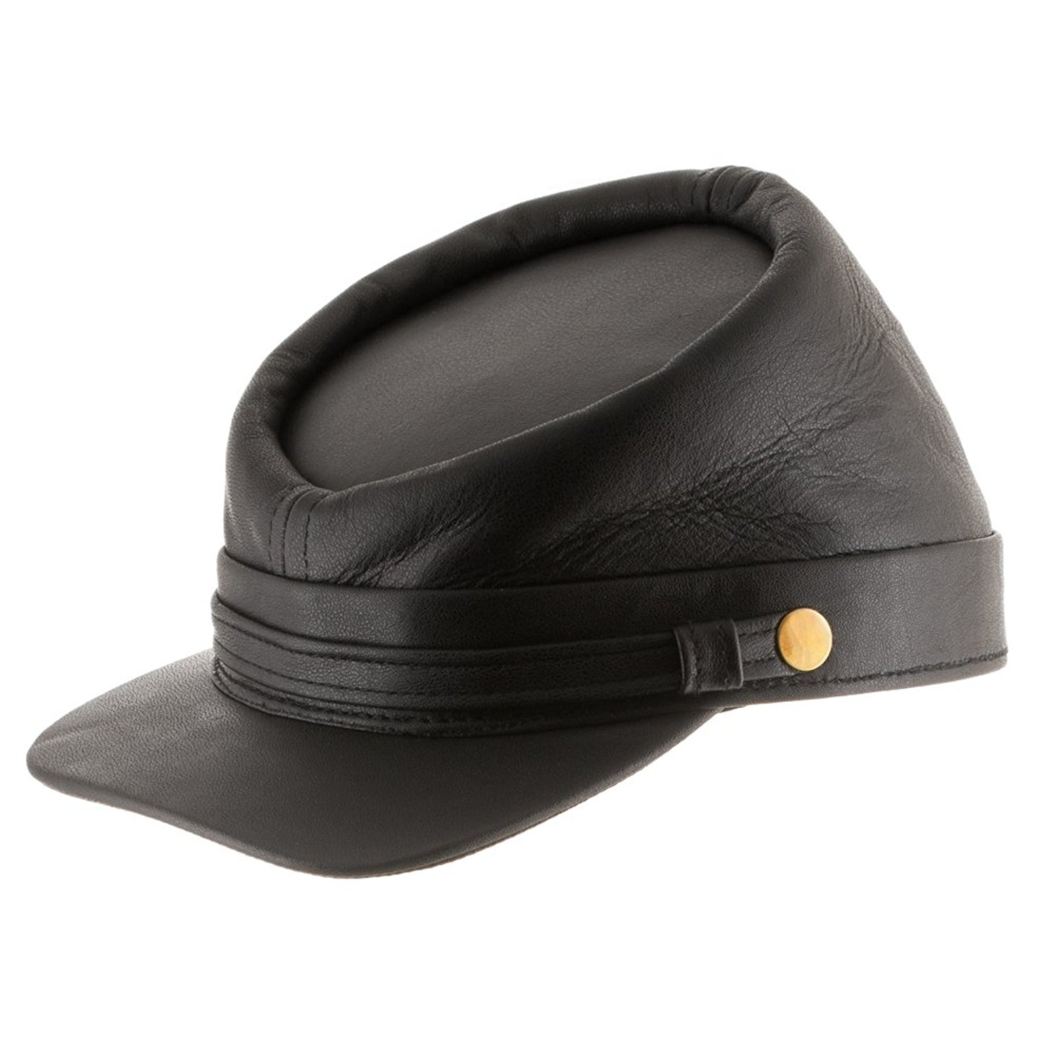 Get Quotations · Ultrafino Genuine Leather Civil War Kepi Cap Army Military  Soldier Cadet Hat 8f7680f72053