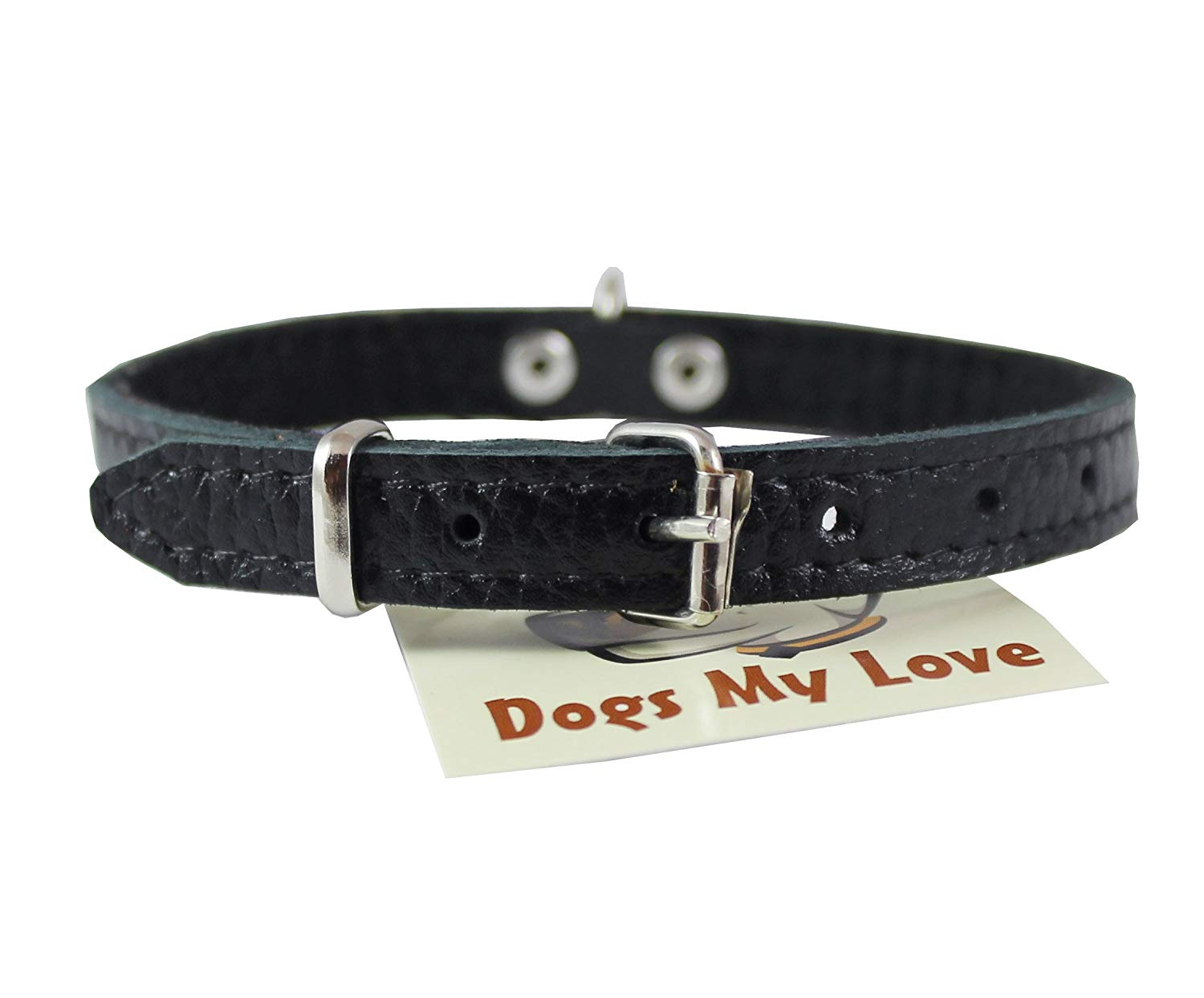 "Dogs My Love Genuine Leather Felt Padded Dog Collar X-Small 11"" x1/2"" Wide Fits 8""-10"" Neck, Chihuahua, Yorkshire Terrier, Puppies"