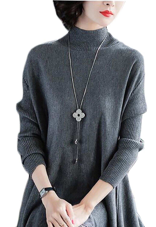 GenericWomen Generic Womens Elegant Mock Neck Long Sleeve Lace Hem Knit Midi Dress