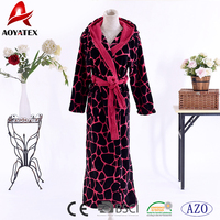 Ladies dressing gown shawl collar long style leopard printed coral fleece bathrobe with hooded