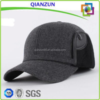6 panel wool baseball cap with ear flaps