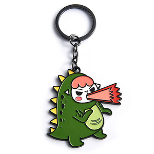 Cute dinosaur girl custom metal keychain with keyring