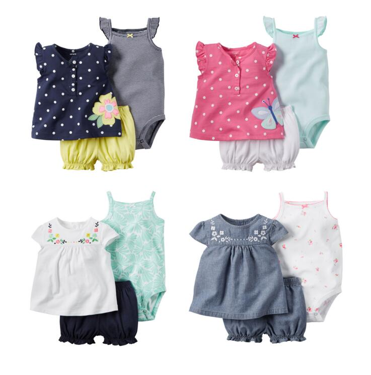 Children new style summer Retail Baby clothing set girls bodysuits+short+t shirt 3pcs undershirt Shorts kids pajama set