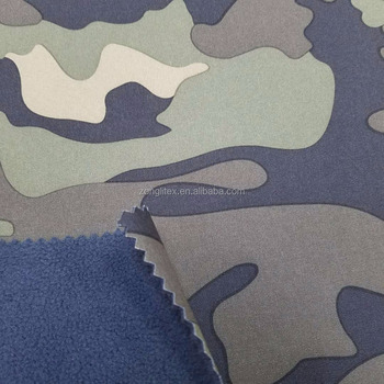 camo print softshell fabric for outdoor wear