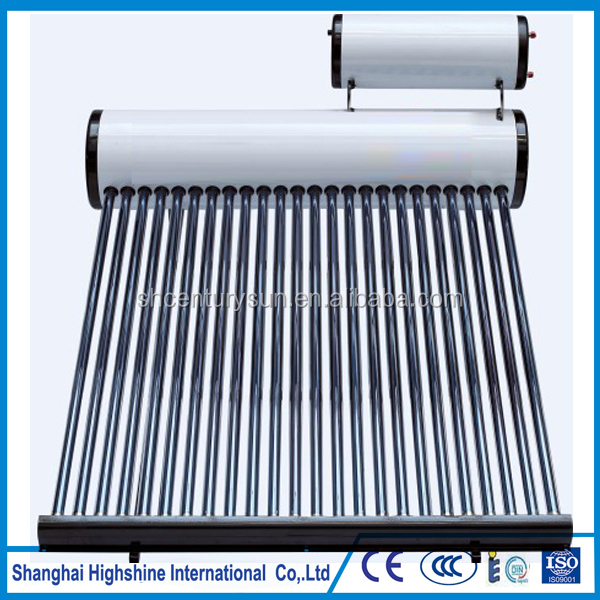 non pressure evacuated tube solar water heater with 20L horizontal feed tank
