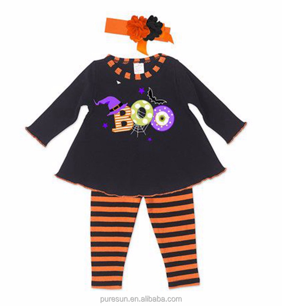kids clothing wholesale fall winter children wear boo embroidery kids outfit