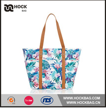 wholsale custom printed tropical orchid beach women tote bag / zipper handbags tote bag