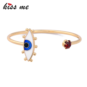 Wholesale Blue Enamel Eyes Noble Thin Gold Bangles Women