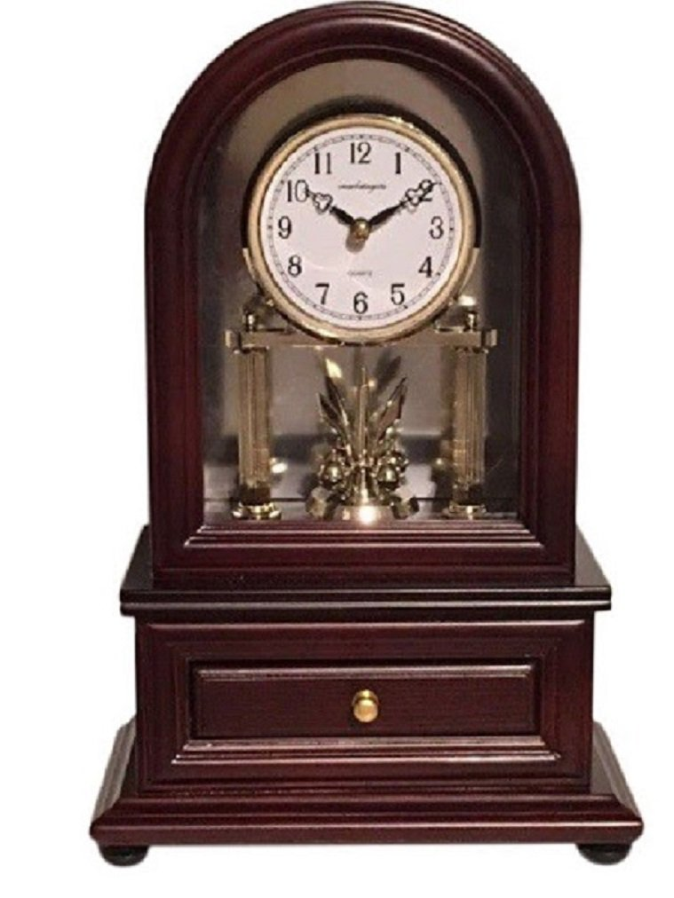 Desk Clocks: Vmarketingsite Wood Desk Clock with Revolving Pendulum. Decorative Small Desk Mantel Clock Battery Operated. Wood Desk Clock Revolving Pendulum Is Silent With A Round Dial Face.