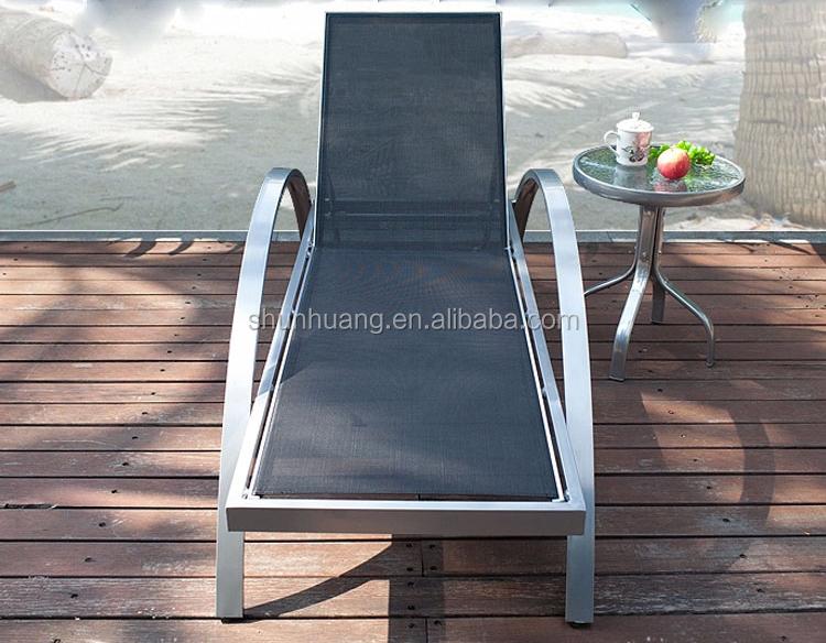 Garden furniture beach chaise lounge black fabric sun lounger