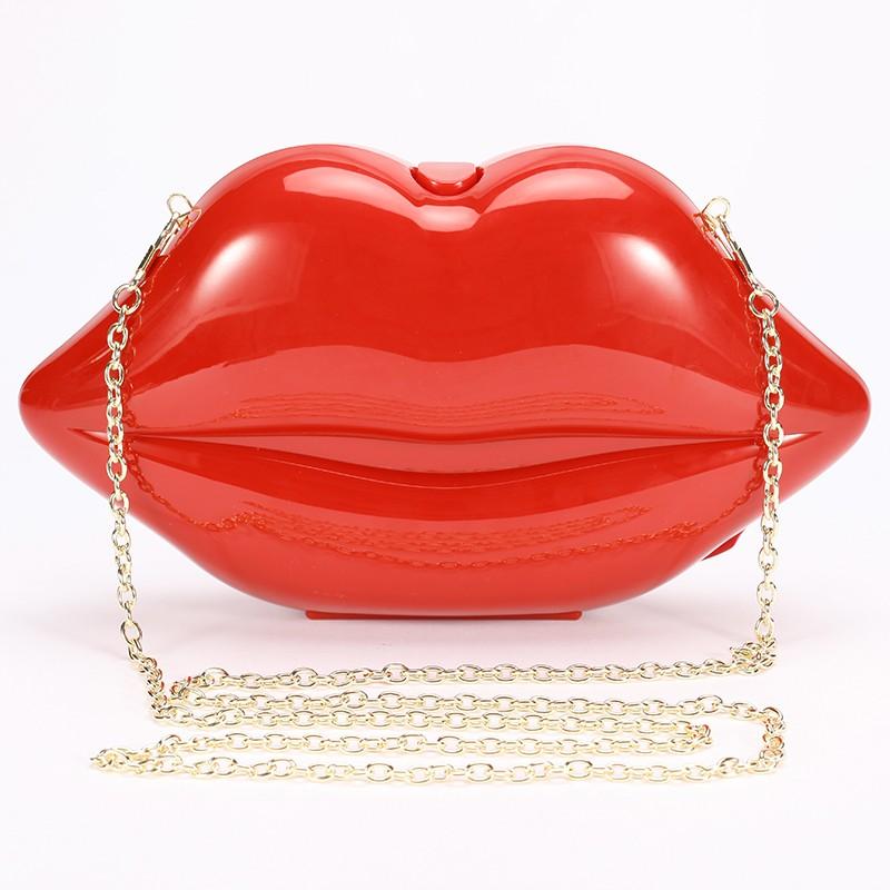 Whole Red Lips Clutch Women Evening Bags Small Purse Handbag
