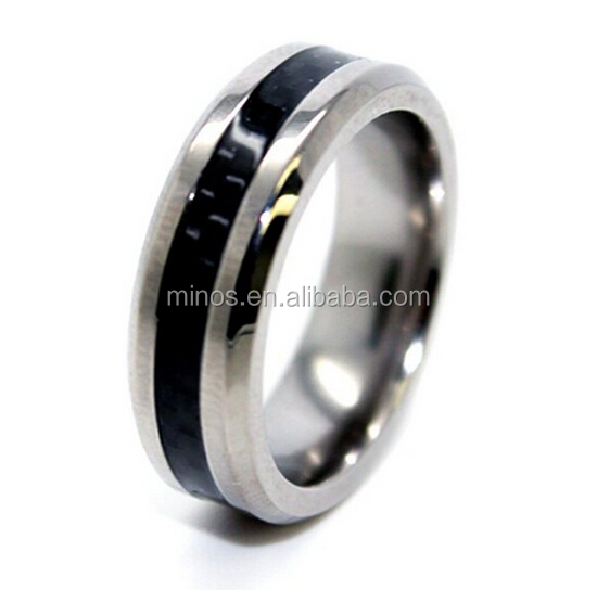 Wind Turbine Slip Ring, Slim 6mm Titanium With Black Carbon Fiber Inlay Wedding Band Size 10