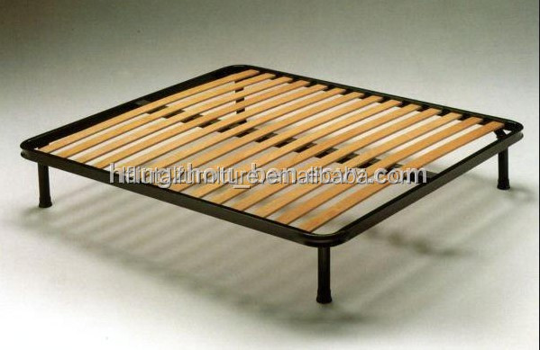 Metal Bed Frame With Wooden Slats
