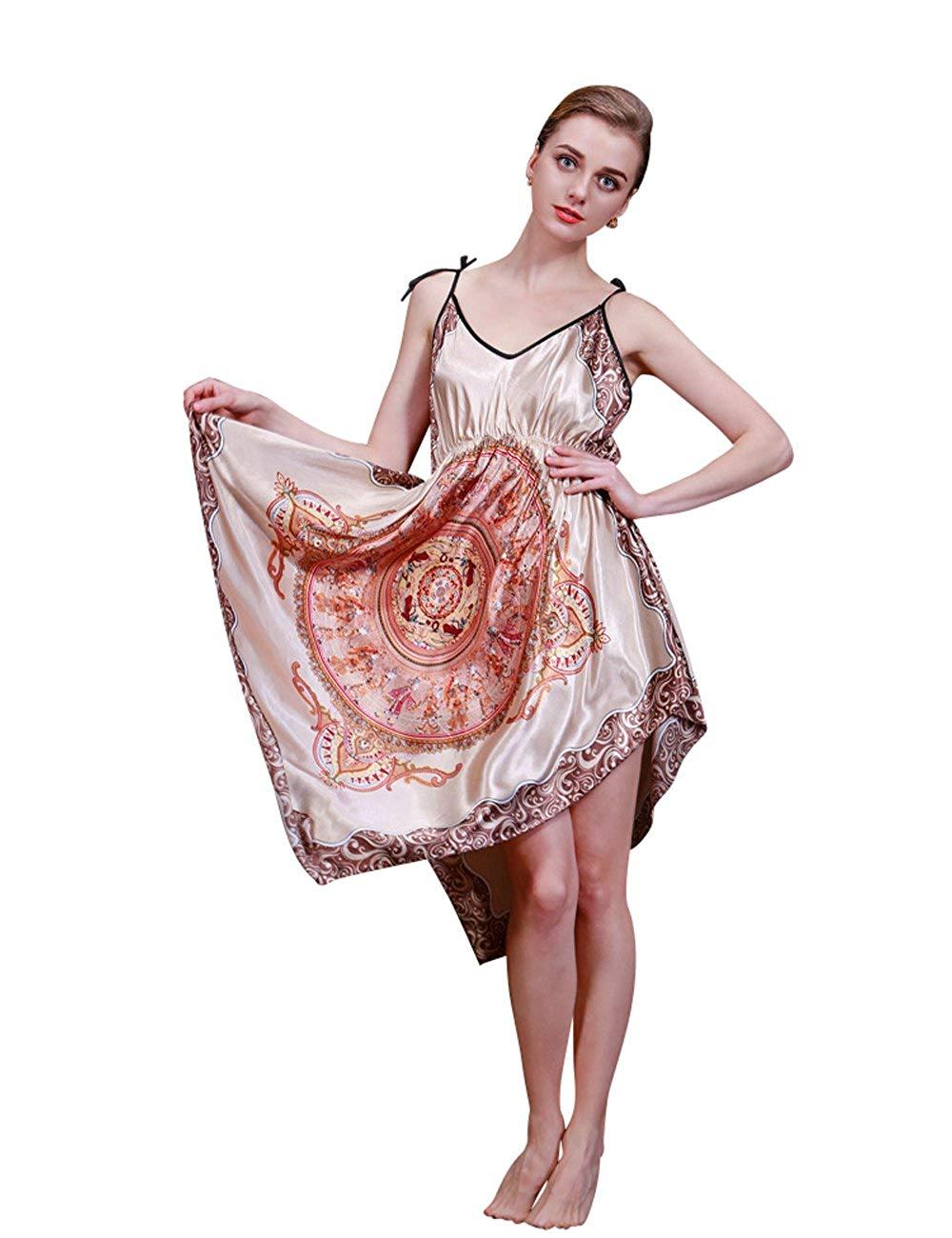 031970ddee Get Quotations · MOKAYA Women s Sleepwear Sleep Shirt Satin Nightgowns  Chemises Nightshirts Slip Dress