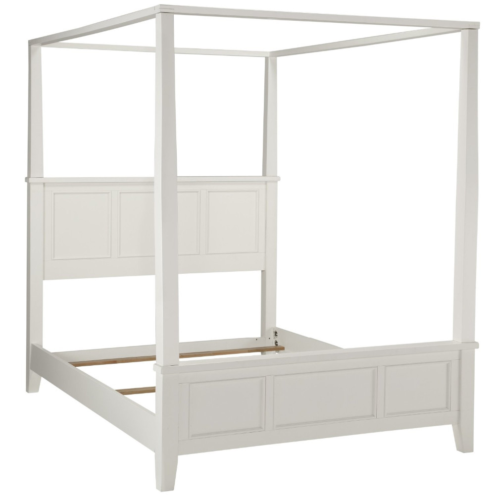 White Solid Wood Modern Canopy Bed