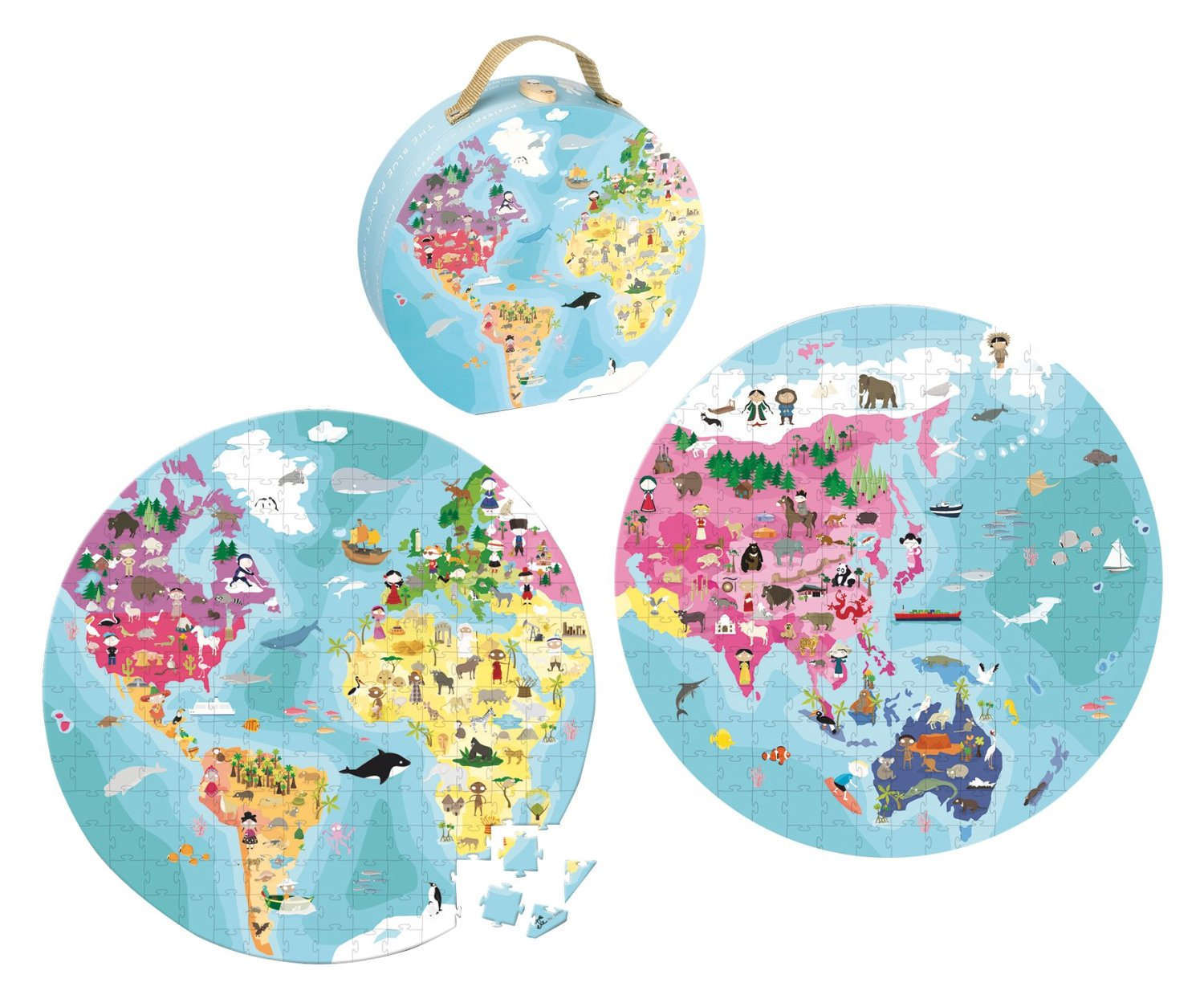 Janod Our Blue Planet Round Double Sided Puzzle