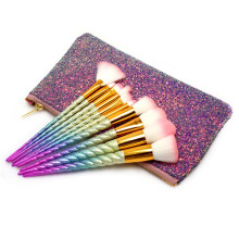 High quality custom logo 10pcs synthetic glitter travel cosmetic makeup brush