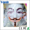 PVC material colorful One Size V Shape Mask Halloween LED Light Up Mask 10 colors